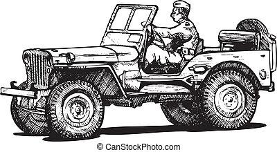guerra, dos, mundo, jeep., ejército