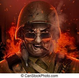 guerra, enojado, cara, norteamericano, soldado