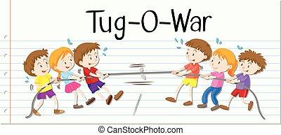 guerra, juego, niños, tirón