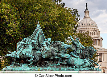 guerra, nosotros, calvary, colina, civil, estatua, capitolio, subvención, w, carga, monumento conmemorativo