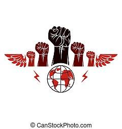 guerra, persone, globo, illustration., stretto, civile, concept., sociale, alato, composto, terra, pugni, vettore, arrabbiato, rivoluzione, emblema, simbolo., astratto