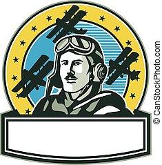 guerra, retro, biplano, spad, uno, piloto, círculo, mundo, aviador