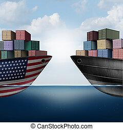guerre, américain, commercer