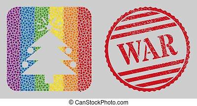 guerre, lgbt, grunge, noël, arbre sapin, timbre, mosaïque, subtracted