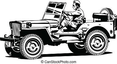 guerre mondiale, véhicule, all-road, armée, deux