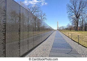 guerre, washington, fond, vietnam, monument, commémoratif