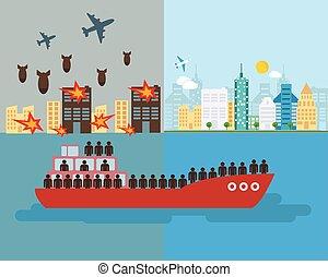 guerree víctimas, barco, vector., refugee., concepto, escapar