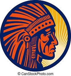 guerreira, americano, chefe, indianas, nativo, vista lateral