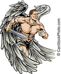 guerreira, anjo, mascote