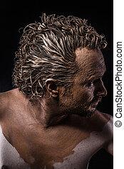 guerreira, antiga, perfil, pelado, coberto, Lama, homem