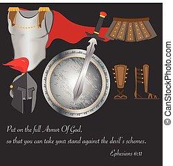 guerreira, bravos, fé, armadura, deus, ilustração, cristianismo, rezar, vetorial