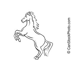 guerreira, cavalo, vetorial, ilustração