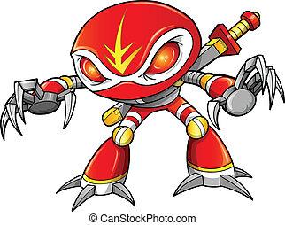 guerreira, cyborg, robô, ninja, soldado