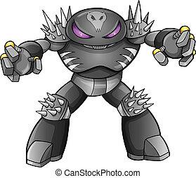 guerreira, cyborg, vetorial, robô, soldado