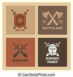 guerreira, etiquetas, escudo, espada, vindima