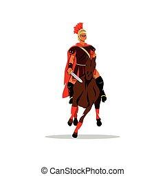 guerreira, illustration., spartan, horseback, sword., vetorial, segurando, caricatura