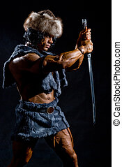 guerreira, macho, espada, forma, bárbaro