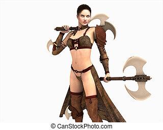 guerreira, mulher