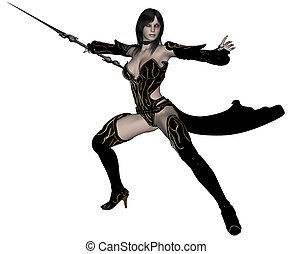 guerreira, mulher, duende, lança