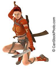 guerreira, mulher, espadas