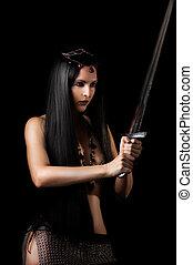 guerreira, mulher, jovem, espada, excitado