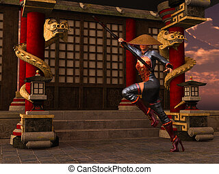 guerreira, mulher, kung fu
