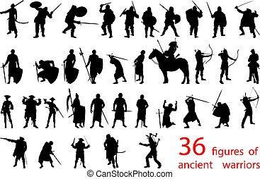 guerreiros, silhuetas, antiga