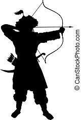 guerreiros, tema, oriental, archer.