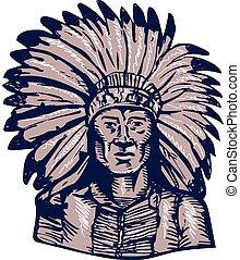 guerrero, aguafuerte, norteamericano, jefe, indio, nativo