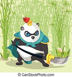guerrero, armadura, china, panda, carácter, vector