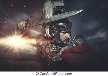 guerrero, armadura, legionary, lucha, romano, casco, capa,...