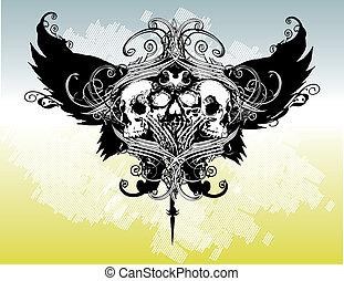 guerrero, cresta, ilustración
