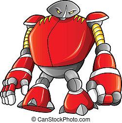 guerrero, cyborg, vector, masivo, robot