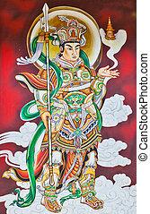 guerrero, deidad, chino, mural