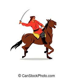 guerrero, illustration., sable, vector, mongol, horseback., ...