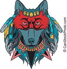 guerrero, indio, lobo