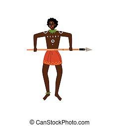 guerrero, lanza, vestido, africano, aborigen, ilustración,...