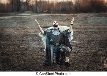 guerrero, levantado, el suyo, manos, sky.