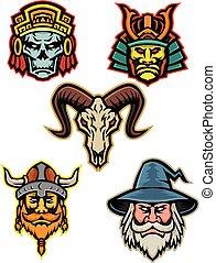 guerrero, mascota, colección, mago, cráneo