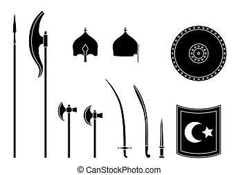guerrero, medieval, turco, set., osman, equipment., armas, armors