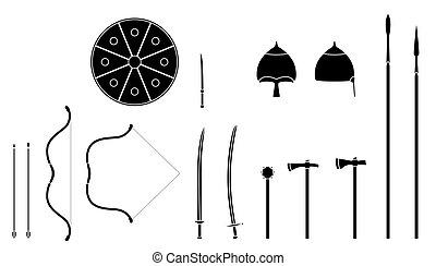 guerrero, mongol, equipment., armas, armors, nómada, set.
