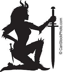 guerrero, mujer, silueta