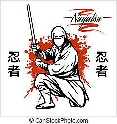guerrero, ninja, -, espada, katana, vector, ilustración