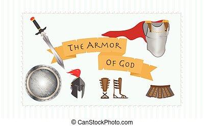 guerrero, protestante, armadura, dios, ilustración, ...