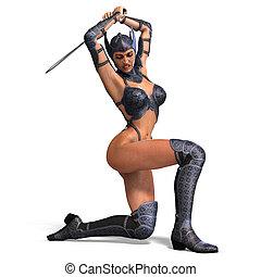 guerrero, recorte, espada, encima, armor., interpretación,...