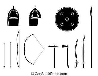 guerrero, set., equipment., armas, armors, nómada