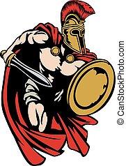 guerrero, trojan, antiguo, spartan, griego, romano, o, gladiator