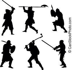 guerreros, siluetas, antiguo, conjunto