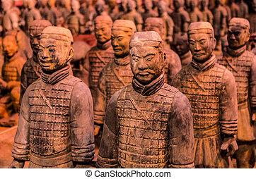 guerreros, terracota, chino