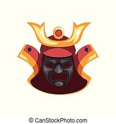 guerrier, ancien, masque, illustration, samouraï, vecteur, fond, blanc, guerre, effrayant